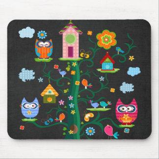 Rétro hibou coloré à la mode fait sur commande tapis de souris