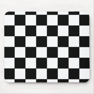 Rétro hippie de damier noir et blanc tapis de souris