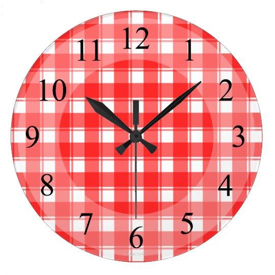 R tro horloge de cuisine de plaid blanc rouge - Horloge de cuisine rouge ...