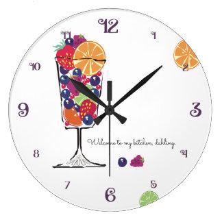 Rétro horloge de cuisine de plat de dessert de
