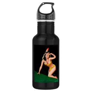 Rétro illustration de pin-up de fille indienne bouteille d'eau