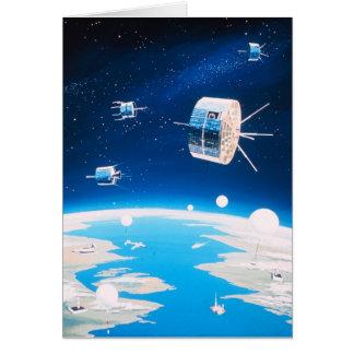 Rétro illustration vintage satellite de fusée carte de vœux