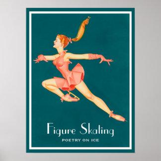 Rétro image d'un patineur artistique dans un posters