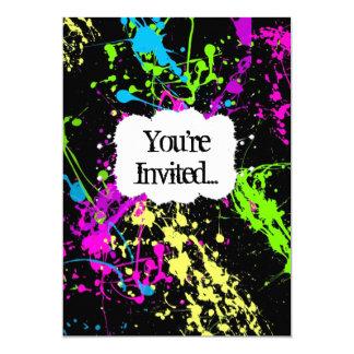 Rétro invitation au néon fraîche de partie carton d'invitation  12,7 cm x 17,78 cm