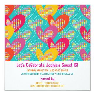 Rétro invitation d'anniversaire de coeurs de bruit