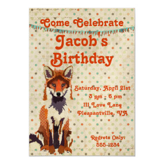 Rétro invitation d'anniversaire de Fox rouge