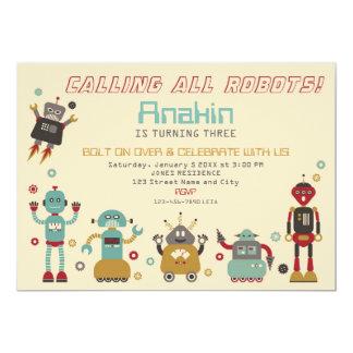 Rétro invitation d'anniversaire de partie de robot