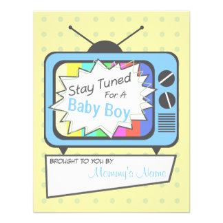 Rétro invitation de baby shower de poste TV de ble