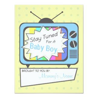 Rétro invitation de baby shower de poste TV de Carton D'invitation 10,79 Cm X 13,97 Cm