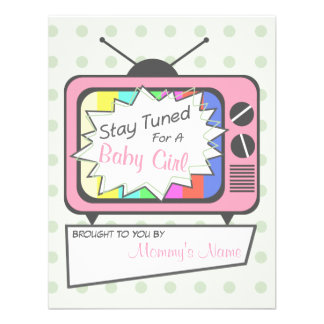 Rétro invitation de baby shower de poste TV de ros