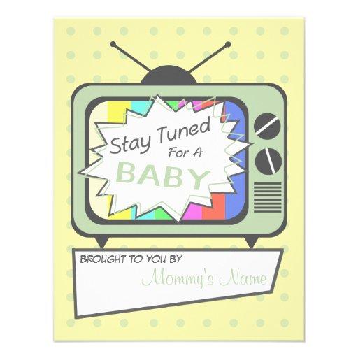 Rétro invitation de baby shower de poste TV de ver