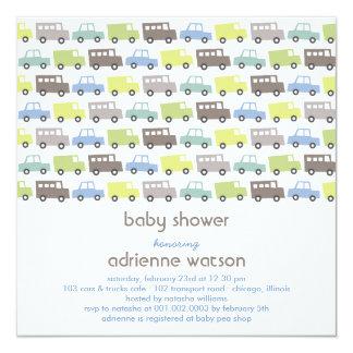 Rétro invitation de baby shower de transport de