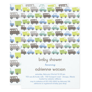 Rétro invitation de baby shower de transport de