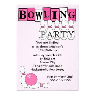 Rétro invitation de fête d anniversaire de bowling