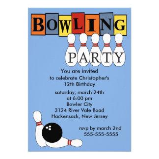 Rétro invitation de fête d'anniversaire de bowling