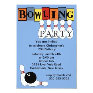 Rétro invitation de fête d'anniversaire de bowling carton d'invitation  12,7 cm x 17,78 cm