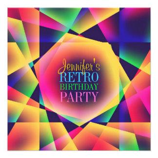 Rétro invitation de fête d'anniversaire de couleur