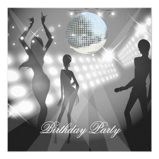 Rétro invitation de fête d'anniversaire de disco