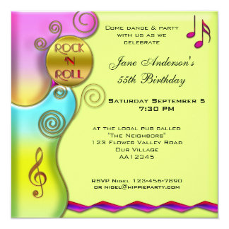Rétro invitation de fête d'anniversaire de rock