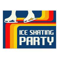 rétro invitation de partie de patinage de glace de
