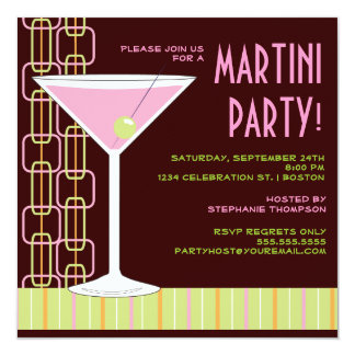 Rétro invitation rose de cocktail de Martini