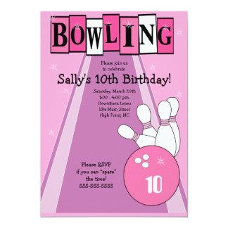 Rétro invitation rose Girly de partie de bowling