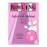 Rétro invitation rose Girly de partie de bowling Carton D'invitation 12,7 Cm X 17,78 Cm