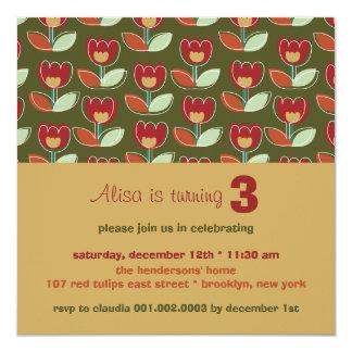 Rétro invitation rouge d'anniversaire de photo