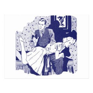 Rétro kitsch vintage donnant une fessée à l'épouse carte postale