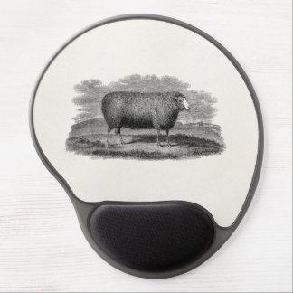Rétro laine de 1800s de moutons d illustration vin tapis de souris avec gel