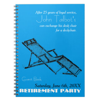 Rétro livre d'invité bleu de partie de retraite de