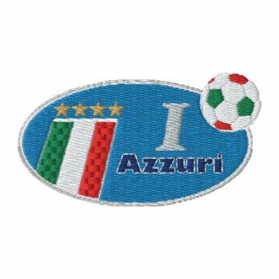 Rétro logo bleu d'Azzurri avec le drapeau italien Sweatshirt À Capuche Brodé