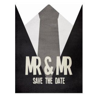 Rétro M. et M. Suit Tie Gay Save la carte postale