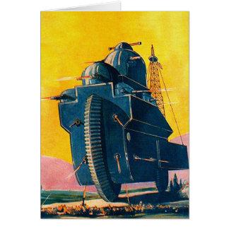 Rétro machine de guerre vintage de Sci fi 20s de Carte De Vœux