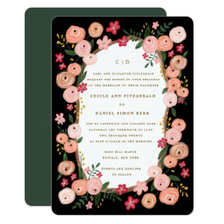 Rétro mariage floral de conte de fées de Fleurs du Carton D'invitation 12,7 Cm X 17,78 Cm