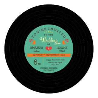 Rétro mariage moderne de disque vinyle invitations