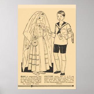 Rétro mode française vintage, première communion 1 affiches