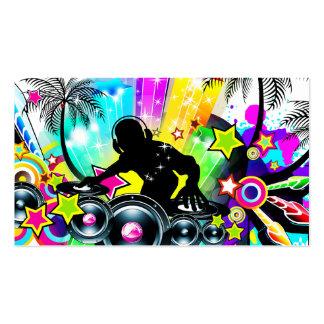 Rétro modèle tropical coloré du DJ Carte De Visite Standard
