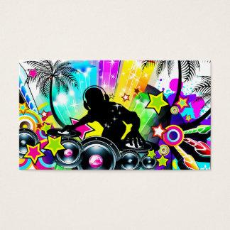 Rétro modèle tropical coloré du DJ Cartes De Visite