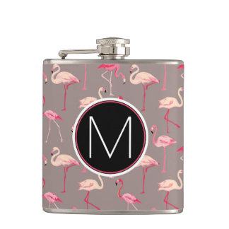 Rétro monogramme des flamants | flasques
