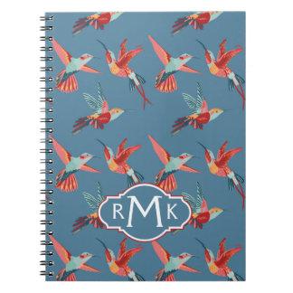 Rétro monogramme du motif | de colibri carnet à spirale