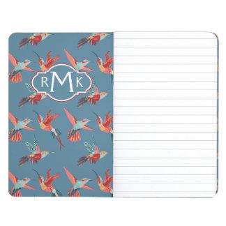 Rétro monogramme du motif | de colibri carnet de poche