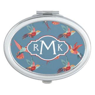 Rétro monogramme du motif | de colibri miroir compact