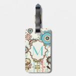 Rétro monogramme floral mignon de motif de bleu de étiquettes à bagage