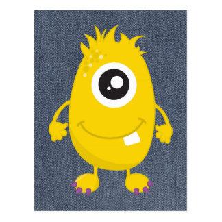 Rétro monstre jaune mignon carte postale
