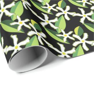 Rétro motif abstrait floral de jasmin papier cadeau
