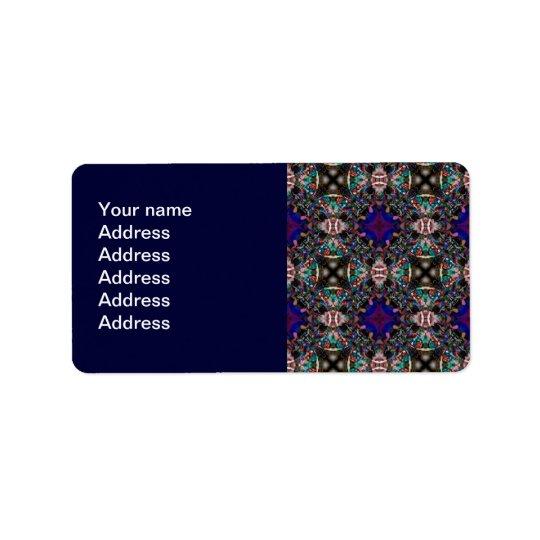 Rétro motif bleu de fractale de fleur étiquette d'adresse