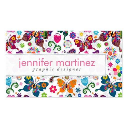 Rétro motif coloré de papillons et de fleurs modèles de cartes de visite