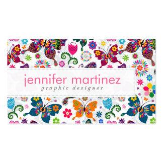 Rétro motif coloré de papillons et de fleurs carte de visite standard