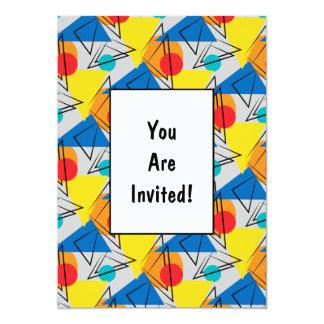 Rétro motif coloré géométrique contemporain carton d'invitation  12,7 cm x 17,78 cm